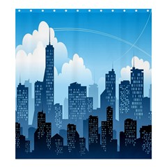 City Building Blue Sky Shower Curtain 66  X 72  (large)