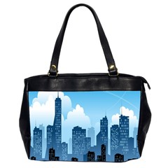 City Building Blue Sky Office Handbags (2 Sides)  by Mariart
