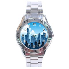 City Building Blue Sky Stainless Steel Analogue Watch by Mariart