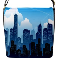 City Building Blue Sky Flap Messenger Bag (s)