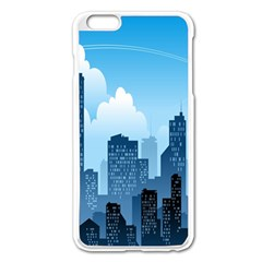 City Building Blue Sky Apple Iphone 6 Plus/6s Plus Enamel White Case by Mariart