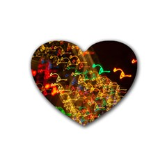 Christmas Tree Light Color Night Heart Coaster (4 Pack)