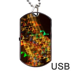 Christmas Tree Light Color Night Dog Tag Usb Flash (two Sides) by Mariart