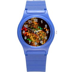 Christmas Tree Light Color Night Round Plastic Sport Watch (s) by Mariart