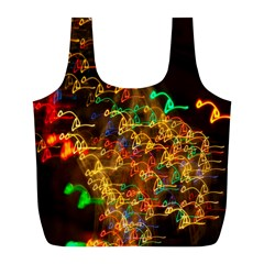 Christmas Tree Light Color Night Full Print Recycle Bags (l)
