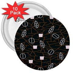 Espresso Cofee Glass Line Chevron 3  Buttons (10 Pack)  by Mariart