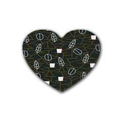 Espresso Cofee Glass Line Chevron Heart Coaster (4 Pack)  by Mariart