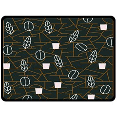 Espresso Cofee Glass Line Chevron Fleece Blanket (large)  by Mariart