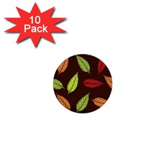 Autumn Leaves Pattern 1  Mini Buttons (10 Pack)