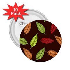 Autumn Leaves Pattern 2 25  Buttons (10 Pack)  by Mariart