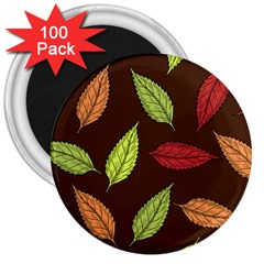 Autumn Leaves Pattern 3  Magnets (100 Pack)