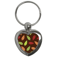 Autumn Leaves Pattern Key Chains (heart)  by Mariart