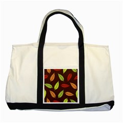 Autumn Leaves Pattern Two Tone Tote Bag