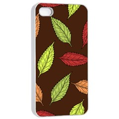Autumn Leaves Pattern Apple Iphone 4/4s Seamless Case (white) by Mariart