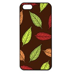 Autumn Leaves Pattern Apple Iphone 5 Seamless Case (black)