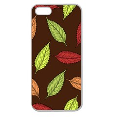 Autumn Leaves Pattern Apple Seamless Iphone 5 Case (clear) by Mariart