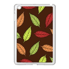 Autumn Leaves Pattern Apple Ipad Mini Case (white) by Mariart