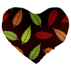 Autumn Leaves Pattern Large 19  Premium Heart Shape Cushions by Mariart