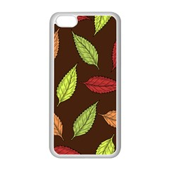 Autumn Leaves Pattern Apple Iphone 5c Seamless Case (white) by Mariart