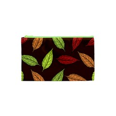 Autumn Leaves Pattern Cosmetic Bag (xs) by Mariart