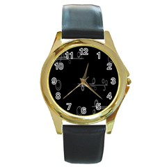Feedback Loops Motion Graphics Piece Round Gold Metal Watch