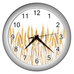 Wheat Plants Wall Clocks (silver)  by Mariart
