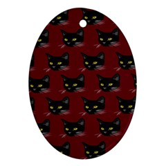 Face Cat Animals Red Ornament (oval) by Mariart