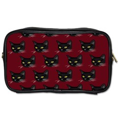 Face Cat Animals Red Toiletries Bags by Mariart
