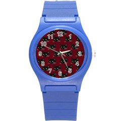 Face Cat Animals Red Round Plastic Sport Watch (s) by Mariart