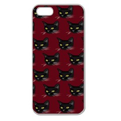 Face Cat Animals Red Apple Seamless Iphone 5 Case (clear) by Mariart