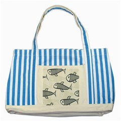 Fish Graphic Flooring Blue Seaworld Swim Water Striped Blue Tote Bag by Mariart
