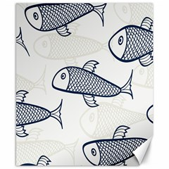 Fish Graphic Flooring Blue Seaworld Swim Water Canvas 8  X 10  by Mariart