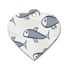 Fish Graphic Flooring Blue Seaworld Swim Water Dog Tag Heart (two Sides) by Mariart