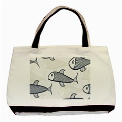 Fish Graphic Flooring Blue Seaworld Swim Water Basic Tote Bag (two Sides) by Mariart
