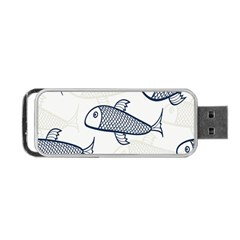 Fish Graphic Flooring Blue Seaworld Swim Water Portable Usb Flash (one Side) by Mariart
