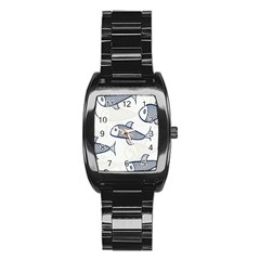 Fish Graphic Flooring Blue Seaworld Swim Water Stainless Steel Barrel Watch by Mariart
