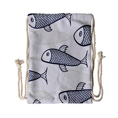 Fish Graphic Flooring Blue Seaworld Swim Water Drawstring Bag (small) by Mariart