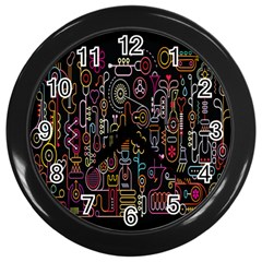 Features Illustration Wall Clocks (black)