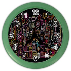 Features Illustration Color Wall Clocks