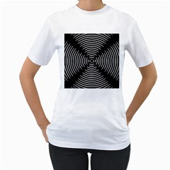 Gold Wave Seamless Pattern Black Hole Women s T Shirt (white) (two Sided) by Mariart