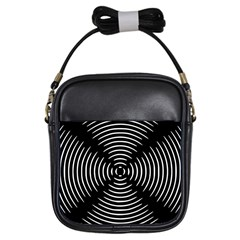 Gold Wave Seamless Pattern Black Hole Girls Sling Bags by Mariart