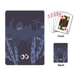 Ghost Halloween Eye Night Sinister Playing Card by Mariart