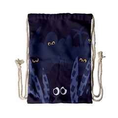 Ghost Halloween Eye Night Sinister Drawstring Bag (small) by Mariart