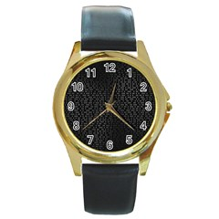 Gray Plaid Black Round Gold Metal Watch by Mariart