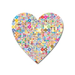 Circle Rainbow Polka Dots Heart Magnet by Mariart