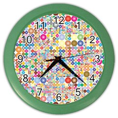 Circle Rainbow Polka Dots Color Wall Clocks