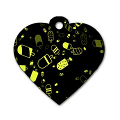 Ice Cream Cool Yellow Dog Tag Heart (one Side) by Mariart