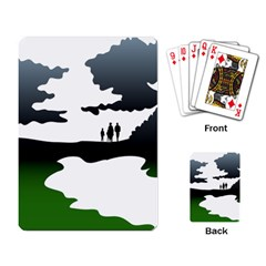 Landscape Silhouette Clipart Kid Abstract Family Natural Green White Playing Card by Mariart