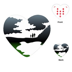 Landscape Silhouette Clipart Kid Abstract Family Natural Green White Playing Cards (heart)  by Mariart