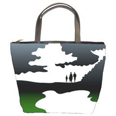 Landscape Silhouette Clipart Kid Abstract Family Natural Green White Bucket Bags by Mariart